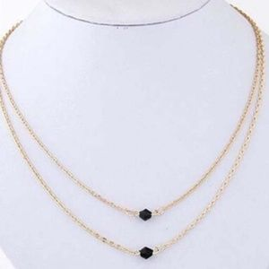 Jewelry - Double Layer Black Crystal Necklace